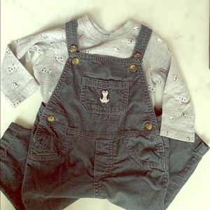 Carter's 9 months overalls and long sleeves top